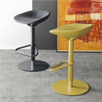 CS1827-SK Palm - Stools made of metal and imitation leather, grey and mustard yellow colours