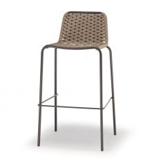 Spiga SG - Bar stool, in metal, with textilene and polyethylene covering, seat height 75 cm, stackable, for outdoor