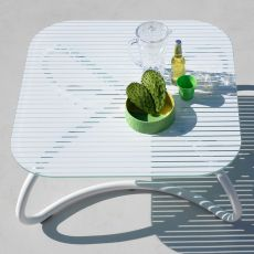 Loto Relax - Low table, made of metal with 95x95cm glass top, also for garden