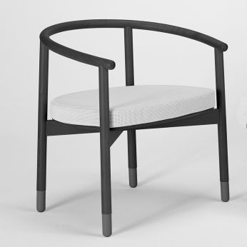 Stick-A - Armchair made of beech wood, grey colour, with cuschion