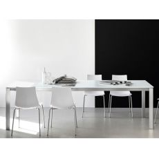 CB4724-M 130 Eminence A - Connubia - Calligaris metal table, different tops available, 130 X 90 cm extendable, 1 extension