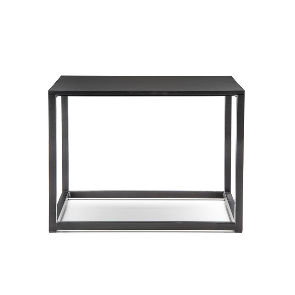 Small squared table in lacquered metal and laminate top, black color, L model