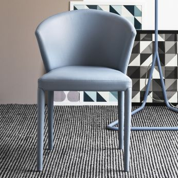 CS1442 Amélie - Chair entirely covered with leather, arctic blue