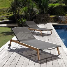 Moon - L - Modern sun longer in teak and textilene, adjustable backrest, with castors