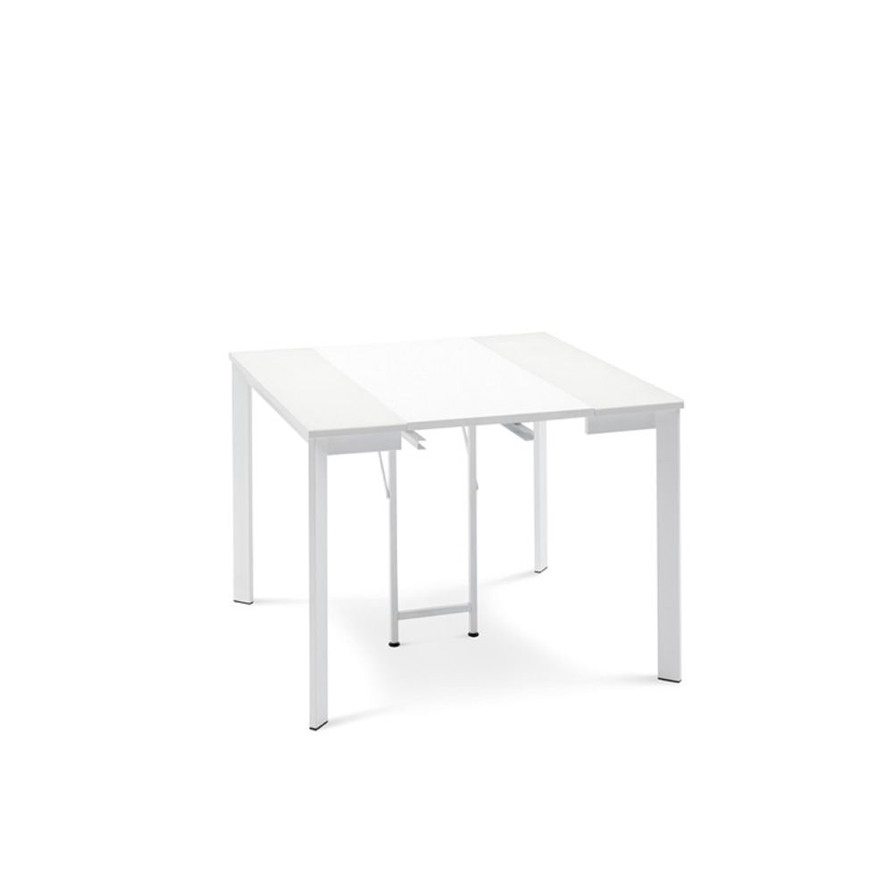 Extendable console made of opaque white lacquered metal with white melamine top
