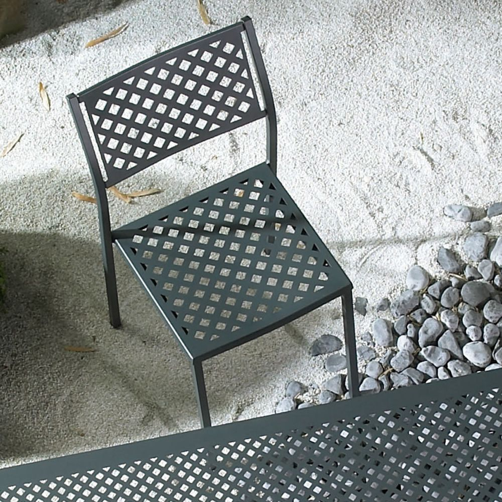 Stackable metal chair, anthracite grey colour, for garden
