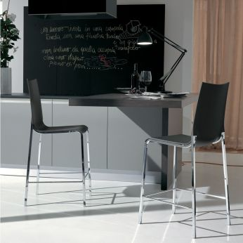 Eva S - Chromed metal stool, with cushion in white anthracite grey polypropylene