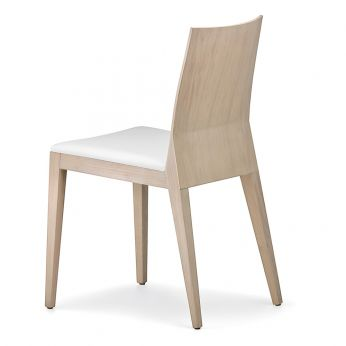 Twig 429 - Design chair in whitened oak wood, padded seat covered with white imitation leather
