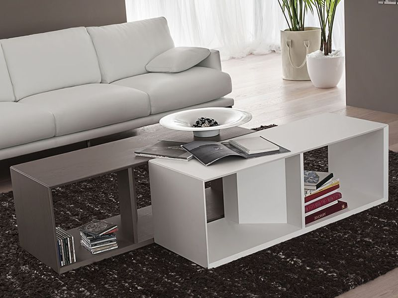 Modular coffee table in opaque dove and white