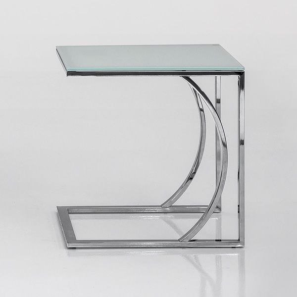 Chromed metal coffee table with extra clear white glass top