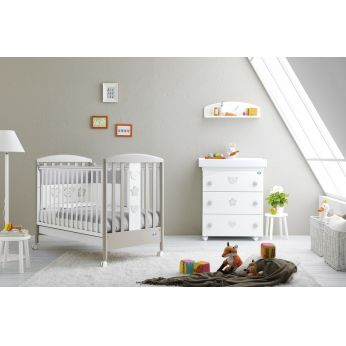 Birillo - Wooden cot in white - dove grey lacquered, matching with Birillo F changing table-baby bath