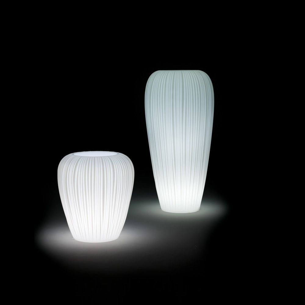 Vase made of Poleasy®, with light system, two different sizes available, also for outdoor