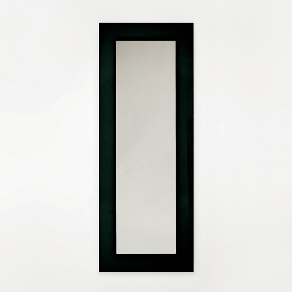 Rectangular mirror with black serigraphed glass frame