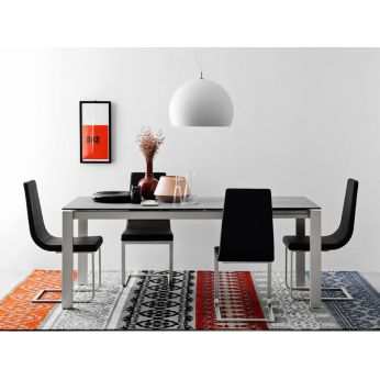 CB4010-R 110 Baron - Extendable table made of metal with ceramic glass top in cement colour, matched with CB1096 Cruiser chairs