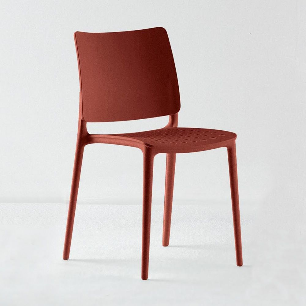 Polypropylene chair, in brick red colour