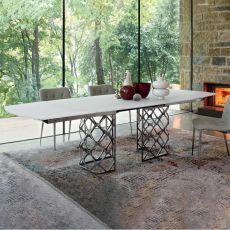Majesty B - Design table Bontempi Casa, in metal with 200x106 cm glass top, extendable