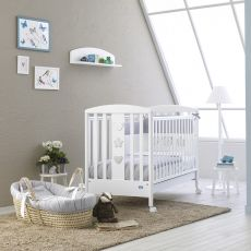 Birillo - Pali wooden cot with drawer, bed slat base adjustable in height