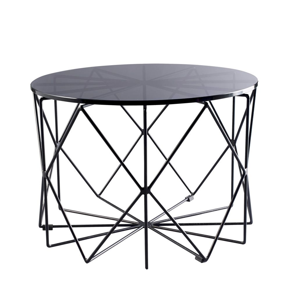 Coffe table in black varnished metal, glass top