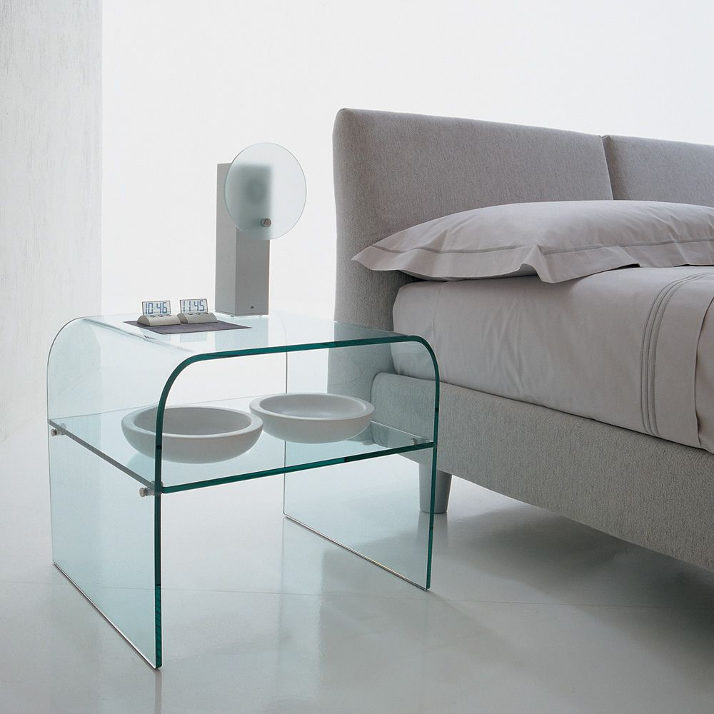 Coffee table-night stand made of glass with shelf