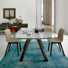 Aron Ext - Design table Bontempi Casa, 200 x 106 cm extendible, with wooden structure and glass top