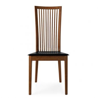 CB1060 Philadelphia - Chair in beech walnut colour, seat covered with black hide