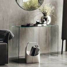 CB5077 Enter - Connubia - Calligaris console table made of curved glass, 110 x 33 cm