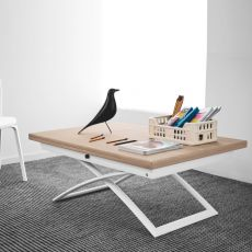 CB5041-W Magic-J - Connubia - Calligaris metal table, veneered wooden top, extendable and adjustable in height