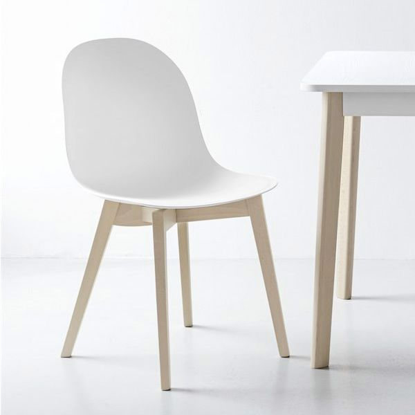 Whitened beech chair with polypropylene seat in opaque optic white colour