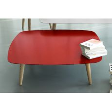 Nord2 Promo - Design wooden coffee table, with square metal top