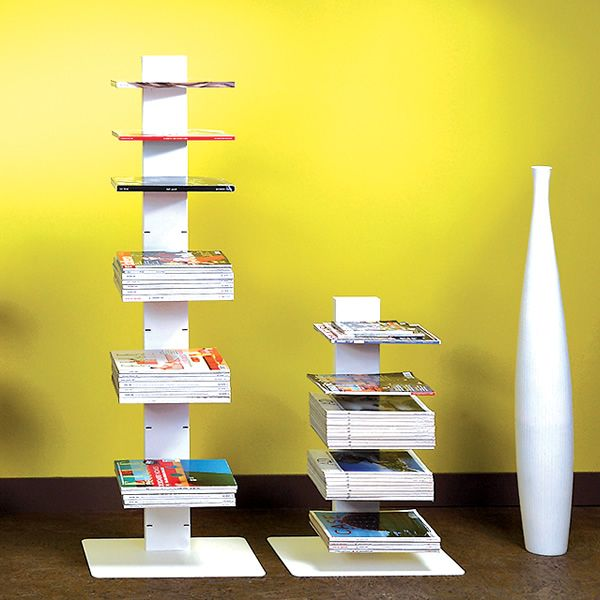 Column bookcase made of white varnished steel, different heights available