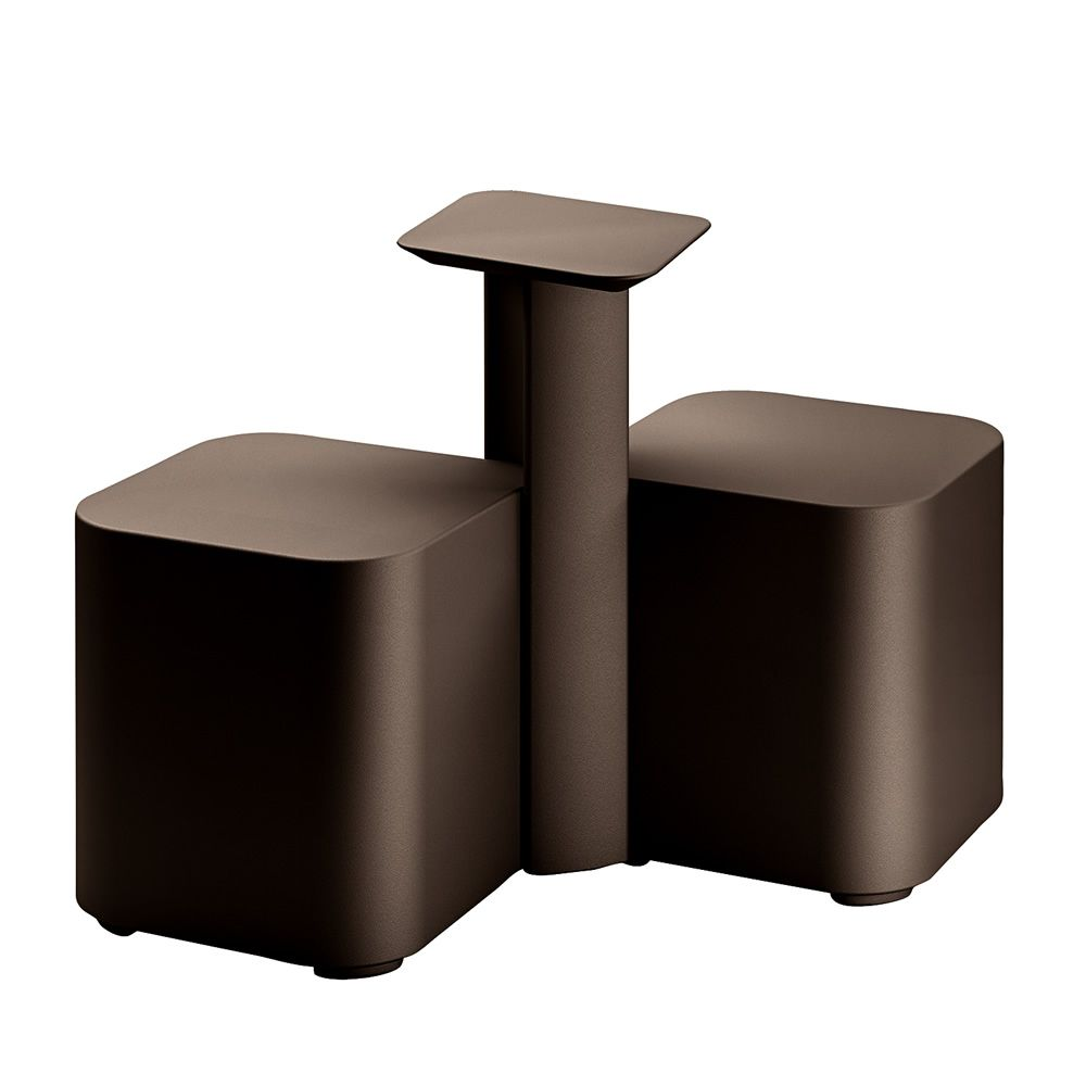 Pouf set with small table, in polyethylene brown