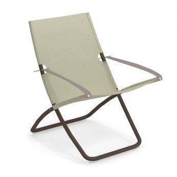 Snooze - Deck chair with brown painted metal structure and beige net
