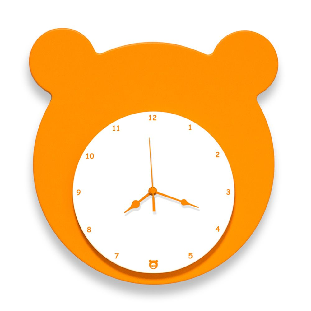 Wall clock in orange lacquered MDF wood