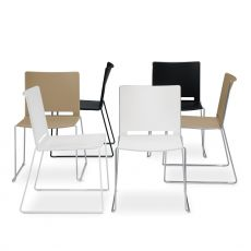 ML170 - Metal and polypropylene chair, with slide structure, stackable