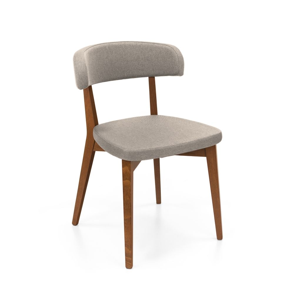 Beech chairs, walnut finish, with sand colour Berna fabric covering