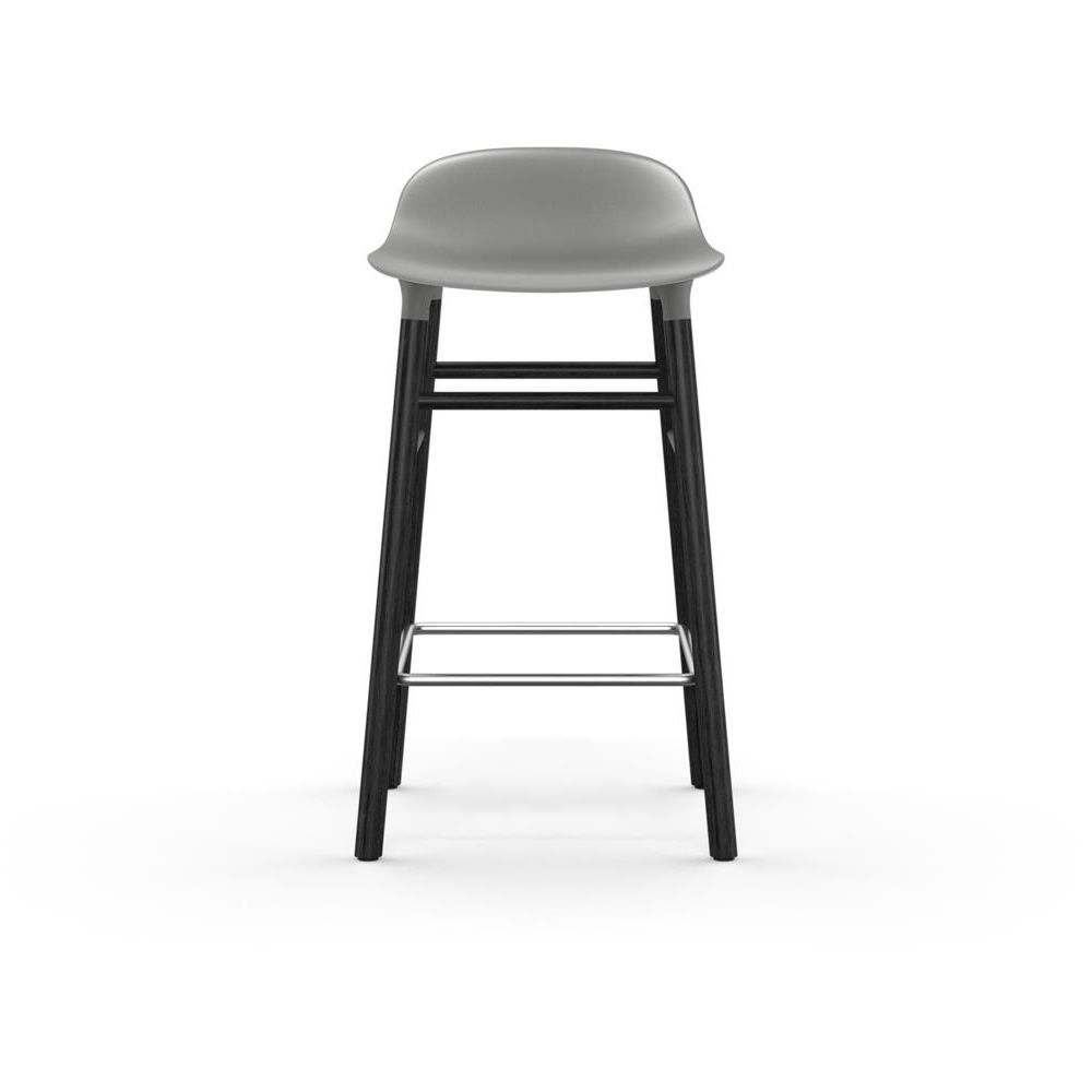 Form-SGW Wood Black laquered Polypropylene seat Ice grey Seat Height 65 cm