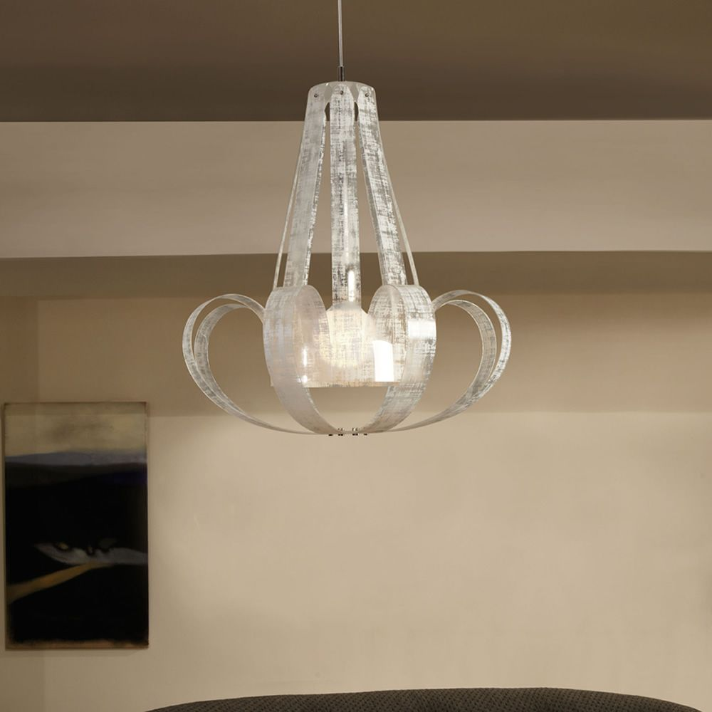 Suspension lamp in polycarbonate with white linen decoration