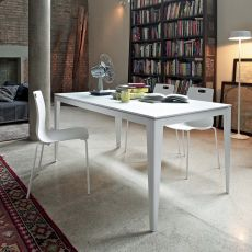 Denver 42.64 - Extendable table, 140 x 90 cm, in metal, with top available in several finishes
