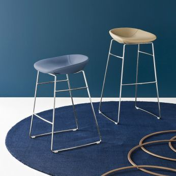 CS1822-SK Palm - Modern stools in metal, with imitation leather covering, seat height 67 or 82 cm