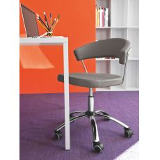 CB624 New York - Connubia - Calligaris office chair, swivel and adjustable, covered in leather or imitation leather