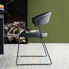 CB1022-LH1 New York - Connubia - Calligaris metal chair, with leather covering