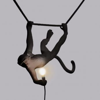 Monkey Lamp Swing - Seletti design suspension lamp, in resin, in the shape of a monkey, with Led
