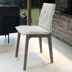 Alfa wood soft - Sedia di design Bontempi Casa, in legno con cuscino, disponibile in diversi rivestimenti