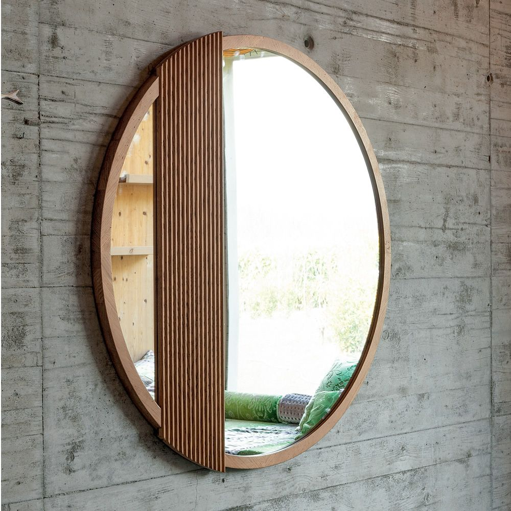 Mirror with frame in oak wood, Holand natural finish, diameter 120 cm