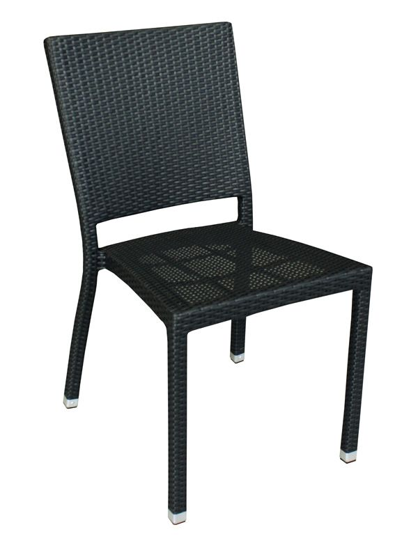 Stackable chair in aluminium and synthetic rattan, black colour