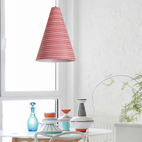 Pendant lamp made of polypropylene with striped decoration in red colour