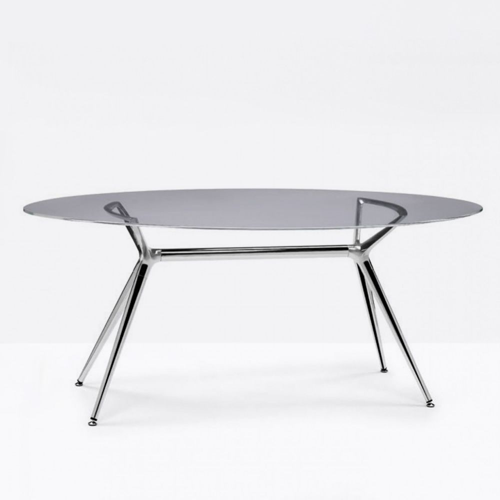 Oval table with glass top, smoked grey colour