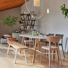 Record Living - Infiniti fixed table in oak wood, top in laminate, wood or Fenix, different sizes available
