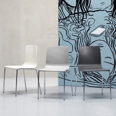 Alice chair 2675 - Modern chair in metal and technopolymer, stackable