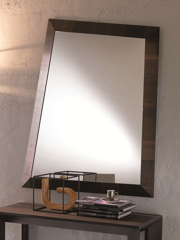 Modern mirror with heat treated oak frame